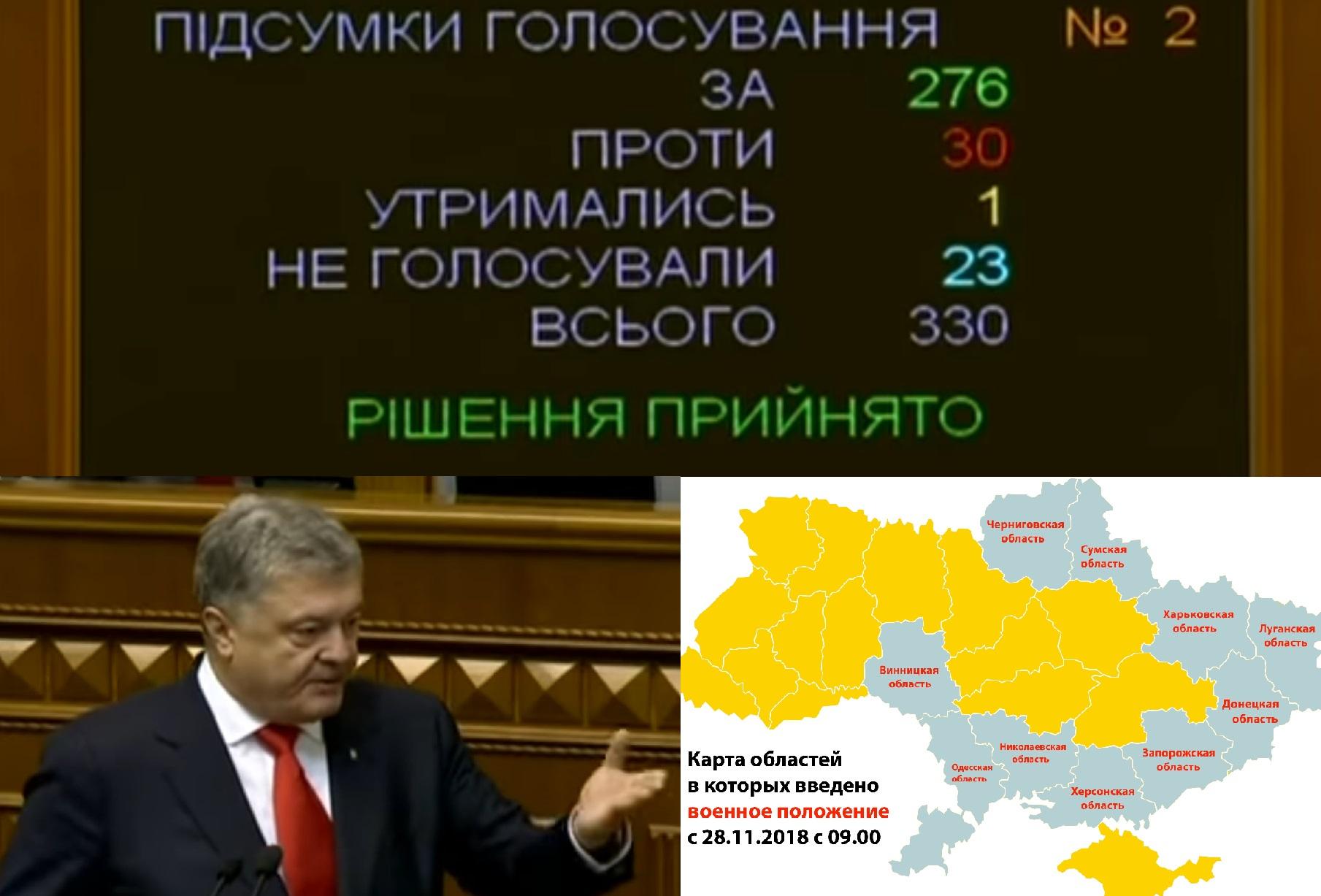 10 украинских областей на 30-ть дней в военном положении