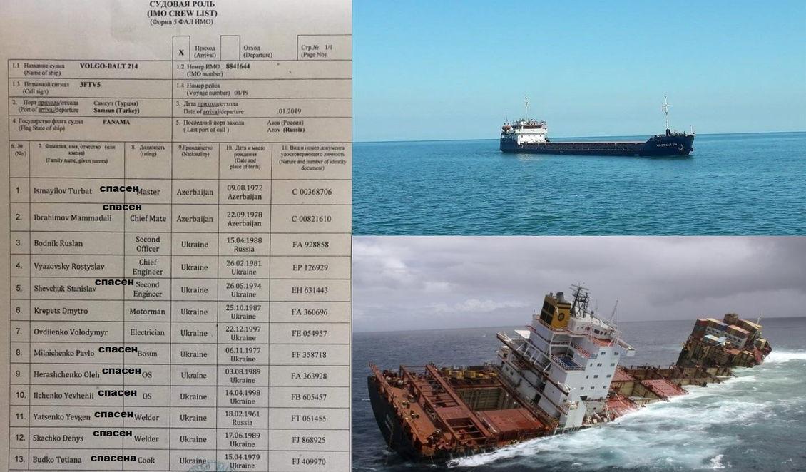 крушение судна у берегов Турции