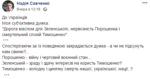 Савченко обвинила Зеленского в работе на Тимошенко