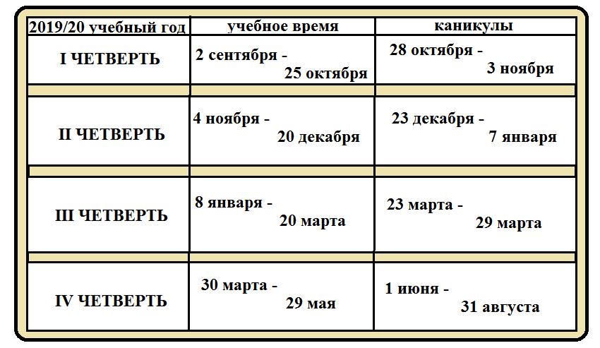 график школьных каникул